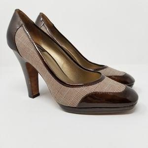 Joan & David Bessete Brown Fabric & Leather Heels